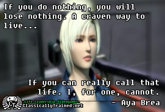video game quotes parasite eve on taking risks
